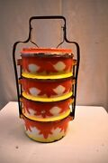 Vintage Enamelware Tiffin Carrier Traditional Lunch Box Tingkat Dabbas Kitchen9