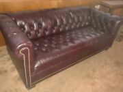 Vintage English Tufted Leather Chesterfield Sofa Great Cond Very Nice Must See