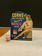 Vintage Mosco Corns And Callouses Cardboard Advertising Sign With Sample Jar
