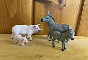 Am Limes 69 Schleich Set Of Donkey's Mule's And Pigs Hard Plastic Animal Figures