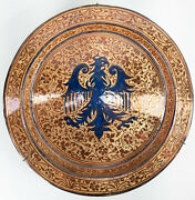 Large 18 Antique Hispano Moresque Luster Ware Majolica Charger Basin Eagle