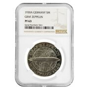 1930 A Germany Weimar Republic Graf Zeppelin 5 Mark Proof Silver Coin Ngc Pf 63