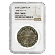 1930 J Germany Weimar Republic Graf Zeppelin 5 Mark Proof Silver Coin Ngc Pf 62