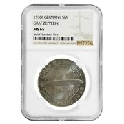 1930 F Germany Weimar Republic Graf Zeppelin 5 Mark Silver Coin Ngc Ms 65