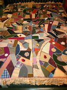 Antique Vintage Victorian Crazy Quilt Late 1800s Artistic Colorfully Stunning