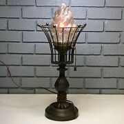 Vintage Heavy Metal Lamp W/ Glass Fire Flame Torch Sconce Light Shade