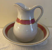 Antique Wedgwood And Co. Stone Granite Large Wash Basin And Pitcher Excellent