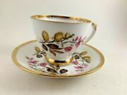 Vintage Royal Ardalt Bone China Cup And Saucer Brown Flowers And Leaves Gold Trim