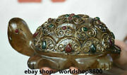 4.8 Rare Antique Old Tibet Crystal Silver Wire Inlay Gem Turtle Tortoise Statue