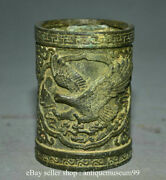 4.2 Marked Antique Chinese Bronze Dynasty Palace Horse Pen Container Brush Pot