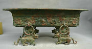 13.6 Antique Old Chinese Bronze Ware Dynasty Beast Legs Plate Tray Food Vessels