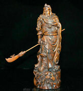 12.4 Old China Boxwood Carved Stand Guan Gong Yu Warrior God Statue