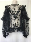 ChloÉ ChloÉ Lace Black Long Sleeve Blouse With Band Collar Floral Detail