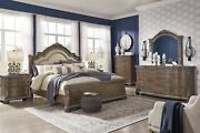 Ashley Furniture Charmond Queen Upholstered Sleigh 6 Piece Bedroom Set
