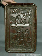 14 Rare Chinese Wood Carving Dynasty Palace People Figures Plate Dish Tray