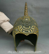 15.6 Antique Old China Bronze Ware Silver Gilt Dynasty Beast Face Casque Helmet