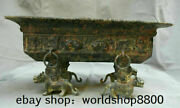 14.6 Antique China Bronze Ware Dynasty Texts Beast Legs Plate Tray Food Vessel