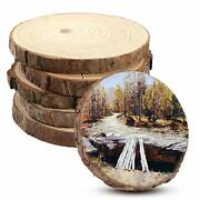 Billioteam 6pack Unfinished Round Wood Tree Sliceswooden Circle With Bark Log...