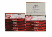 Proof Sets Silver 1999 - 2008, 10 Complete Sets - 109 Coins Us Mint Run Lot