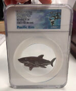 Pf70 2019 1 Oz Hunters Of The Deep Great White Shark 999.9 Silver Paciific Rim
