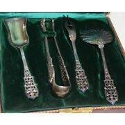 Antique 19th Original Rare Leather Box With Silver Set Services By Gabert