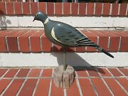 Vintage Stand Up Wooden Carved Pigeon Decoy Bird Hunting Duck