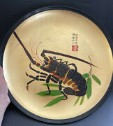 Vintage Wood Serving Tray Plate Lacquer With Lobster Hand Painted Japan Sighed