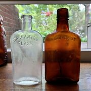 2 Diff Early Antique Pre-pro Whiskey Bottles Clear Strap Side And Amber Flask