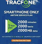 Tracfone 1 Year Service Plan - 365 Days + 2000 Minutes/ 2000 Text/ 2000 Data