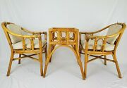 Mid-century Rattan Bamboo Bistro Set Table And Chairs Albini Bohemian Vintage