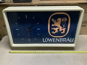 Vintage Lowenbrau Lighted Beer Sign/clock 30andrdquo X 17andrdquo
