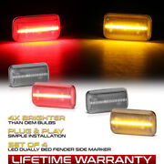 Clear Lens Amber Red Led Rear Side Marker Lamp For 15-21 Silverado Sierra Dually