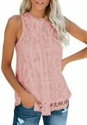 Valphsio Womens Lace Crochet Tank Tops Sleeveless Halter Scallop Clubwear Blouse