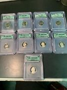 9 High Grade Icg Certified Jefferson Proof Nickels