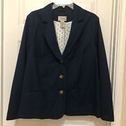 Ll Bean Womens Blue Cotton Long Sleeve Button Front Jacket Size 18w