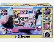Lol Surprise Omg Remix 4-in-1 Plane Playset Transforms With 50 Surprises - New