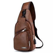 Mini Usb Interface Plenty Of Space Men Women Casual Outdoor Travel Leather Bag