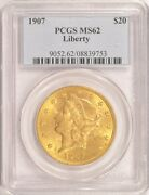 1907 20 Liberty Gold Double Eagle Pcgs Ms-62 In An Older Holder Pre-1933 Gold