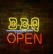 New Bbq Open Store Neon Sign 20x16 Light Lamp Bar Pub Wall Collection St769