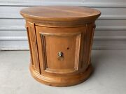 Ethan Allen Oval Drum End Accent Table With Door And Inside Shelf Will Ship