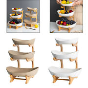 Ceramic Fruit Plates Wood Holder Snack Nuts Candy Serving Bowls Tray Home