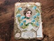 Vintage St Valentineand039s Day Offering Diecut Book Victorian Lady 1900and039s