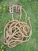 Vintage Wood Double Block Pulley And Hooks And Lots Of Rope Steampunk Block Tackle
