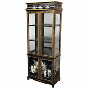 Lacquer Curio Cabinet - Black Mother Of Pearl Ladies