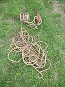 Vintage Wood Double Block And Metal Triple Pulley And Hooks And Lots Of Rope Steampunk