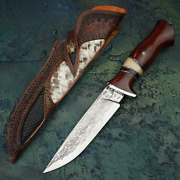 Vg10 Damascus Steel Hunting Knife Handmade Fixed Blade Knives Outdoor Survival