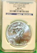 2011 25th Anniversary- Er -ngc Ms69- American Silver Eagle