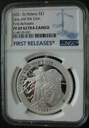 Una And The Lion St.helena Pound 2021 Silver Proof Coin Ngc Pf69 First Releases