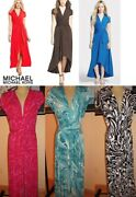 Nwt High-low Faux-wrap Dress Radiant Pink Tile Blue Coral Red Black