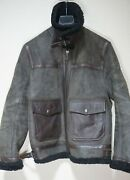 3495 | Belstaff 50 L Shearling Leather Jacket Brown Charcoal Aviator Bomber